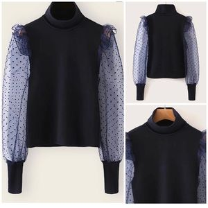High Neck Mesh Sleeve Top (L)